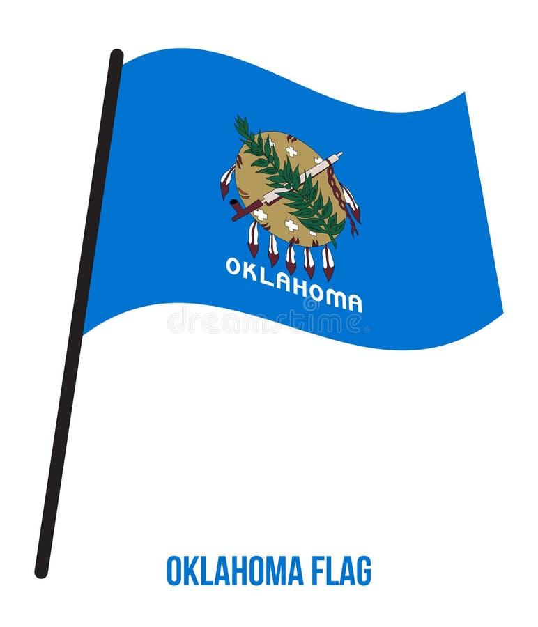 Oklahoma U.S. State Flag Waving Vector Illustration on White Background royalty free illustration