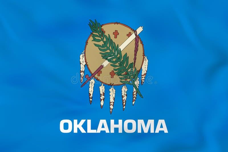 Oklahoma vinkande flagga Textur för bakgrund för Oklahoma tillståndsflagga royaltyfri illustrationer