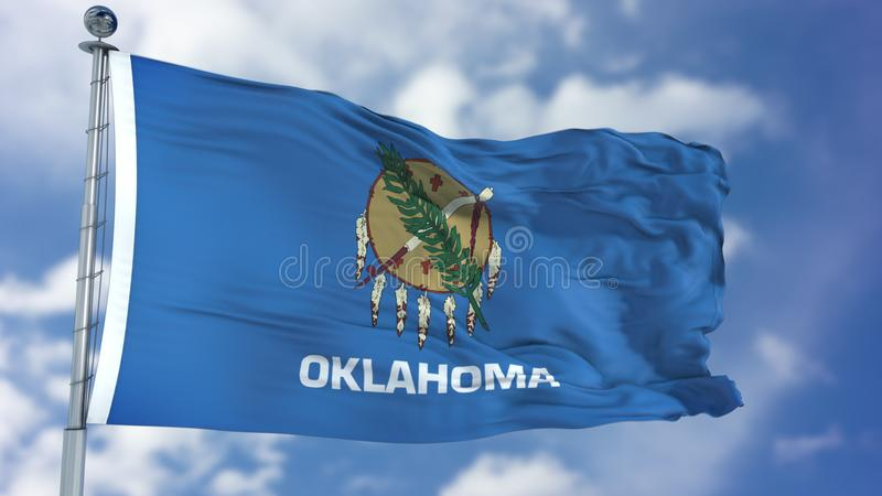 Oklahoma Waving Flag. Oklahoma U. S. state flag waving against clear blue sky, close up, isolated with clipping path mask luma channel, perfect for film, news stock photography