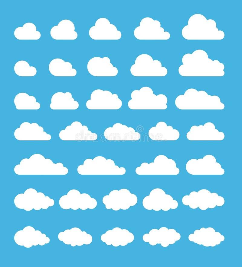 oklarhet Abstrakt vit molnig uppsättning som isoleras på blå bakgrund också vektor för coreldrawillustration stock illustrationer