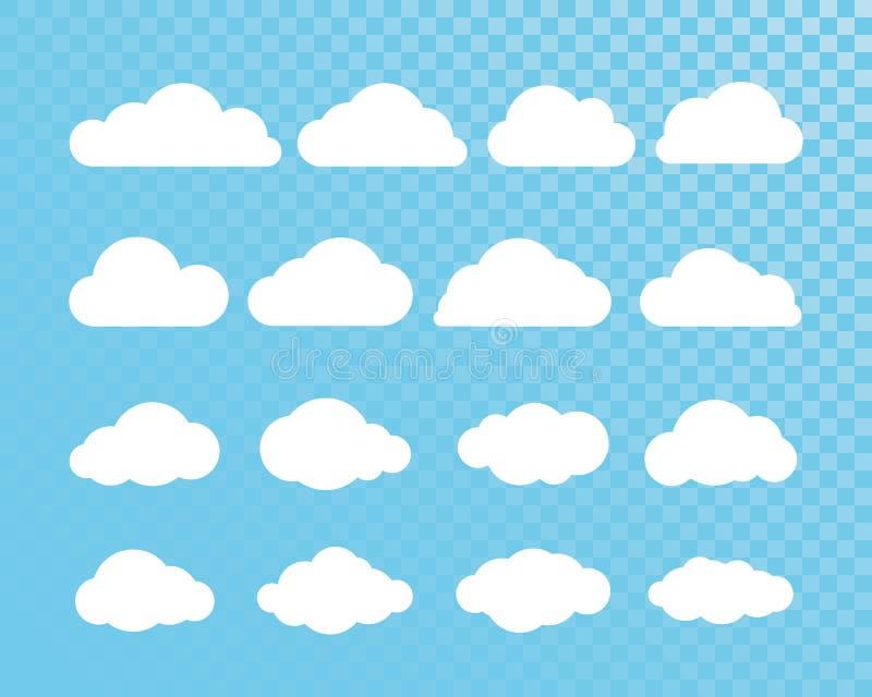 oklarhet Abstrakt vit molnig uppsättning som isoleras på genomskinlig bakgrund också vektor för coreldrawillustration vektor illustrationer