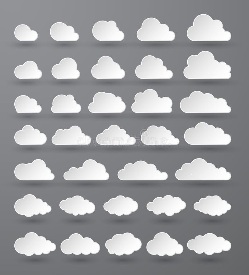 oklarhet Abstrakt vit molnig uppsättning som isoleras på mörk bakgrund ocks? vektor f?r coreldrawillustration royaltyfri illustrationer