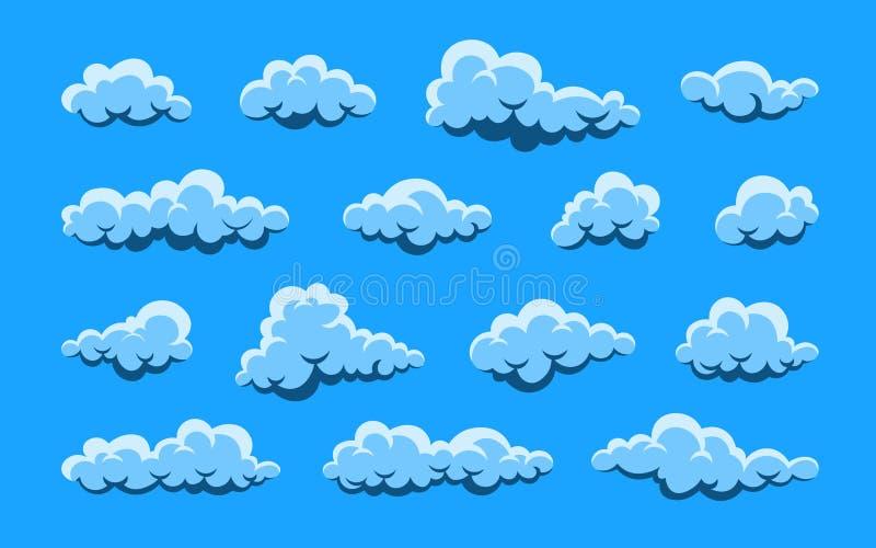 oklarhet Abstrakt vit molnig upps?ttning som isoleras p? bl? bakgrund ocks? vektor f?r coreldrawillustration royaltyfri illustrationer