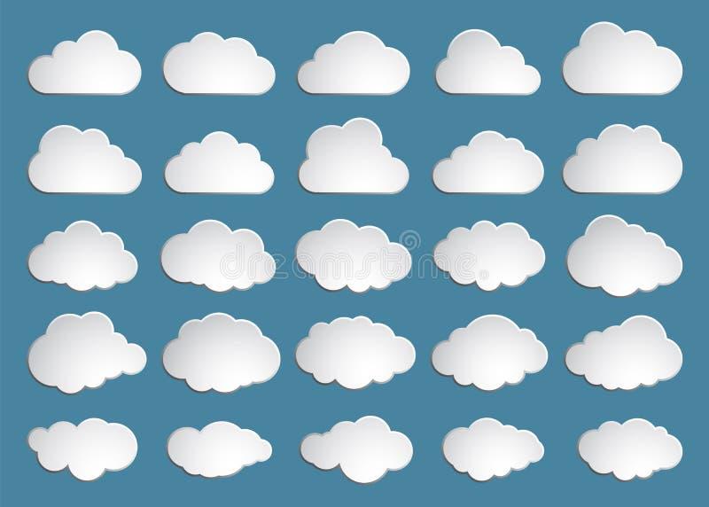 oklarhet Abstrakt vit molnig upps?ttning som isoleras p? bl? bakgrund ocks? vektor f?r coreldrawillustration stock illustrationer