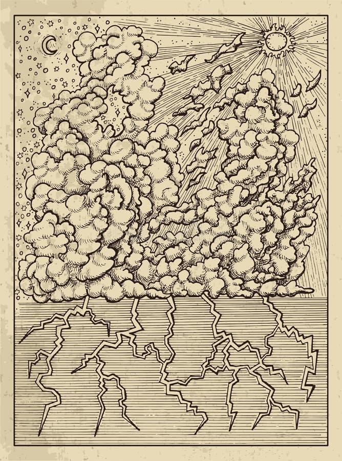 oklarhet Mystikerbegrepp för kort för Lenormand orakeltarok stock illustrationer