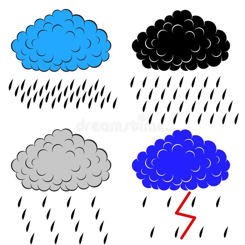 Oklarheter med nederbörd royaltyfri illustrationer