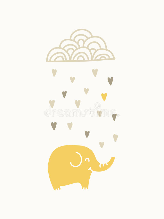 oklarhetselefant som under regnar vektor illustrationer