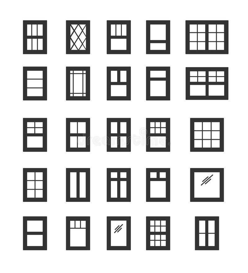 Okna do składania i wytaczania Elementy architektury Zbiór ikon płaskich Tradycyjne i francuskie ramy okien royalty ilustracja