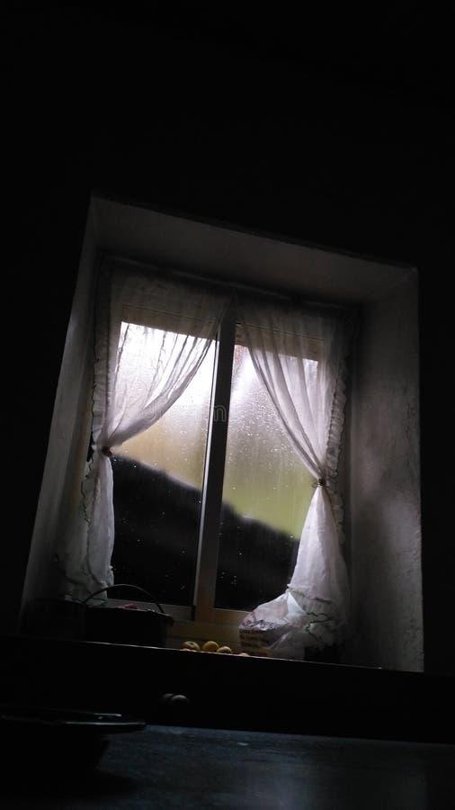 Okno & deszcz obrazy stock