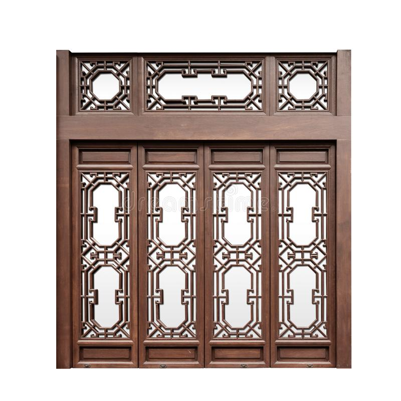 Okno drewniane w stylu chińskim na izolowanym białym tle fotografia stock
