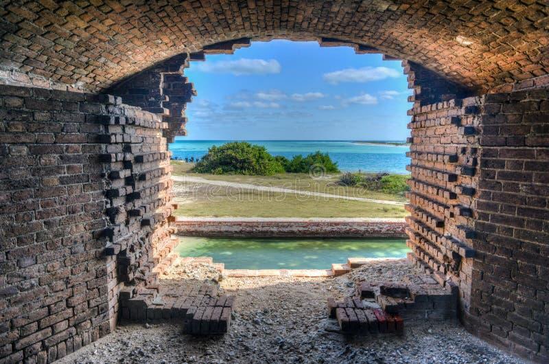 Okno, fort Jefferson przy Suchym Tortugas parkiem narodowym fotografia royalty free