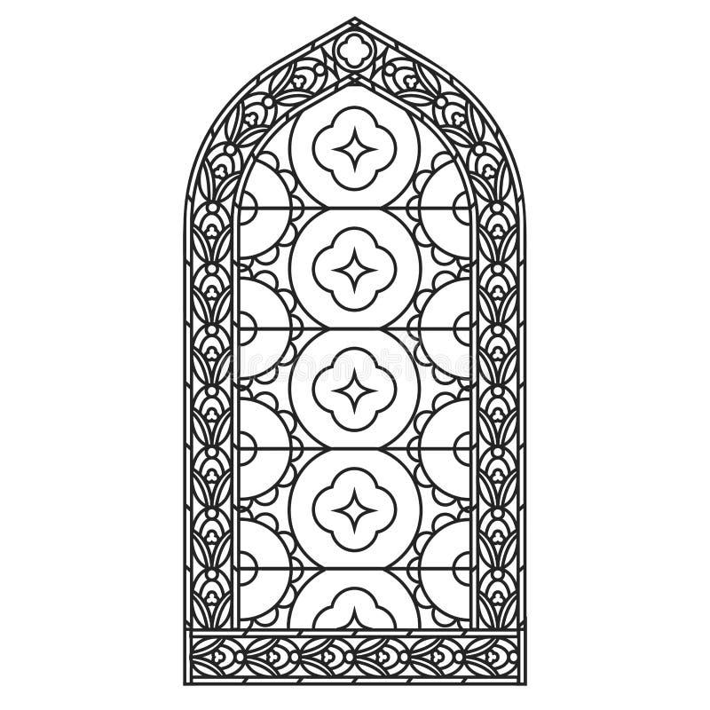 okno gothic Rocznik ramy okulary pobrudzeni okno kościoła royalty ilustracja