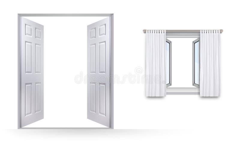 Okno i drzwi z oba otwieramy ilustracji