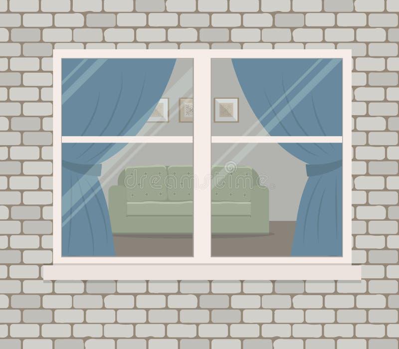 Okno na ściana z cegieł Widok żywy pokój od ulicznej strony royalty ilustracja