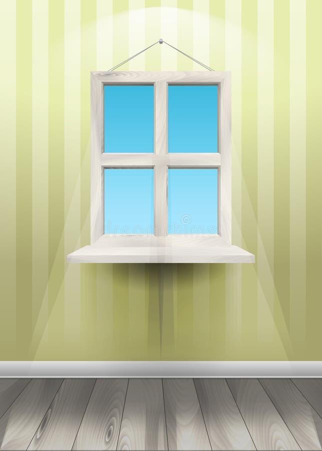 Okno na ścianie również zwrócić corel ilustracji wektora ilustracji