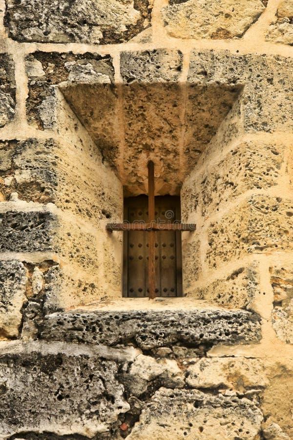 Okno na fasadzie buduje Kolumb Alcazar zdjęcia stock