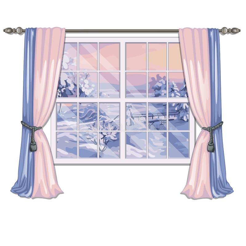 Okno przegapia wschód słońca w śnieżnym polu w zimie odizolowywającej na białym tle Wewnętrznego projekta luksus ilustracja wektor