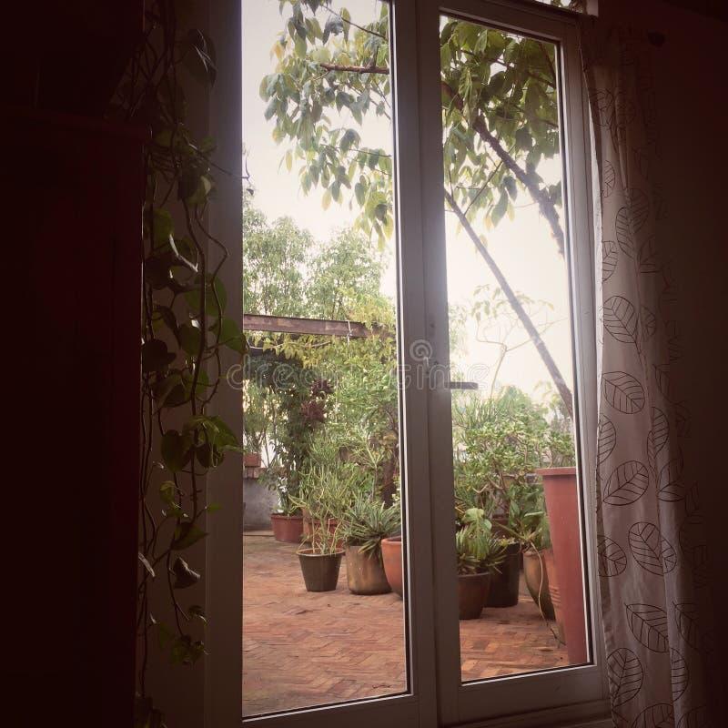 Okno taras obrazy royalty free