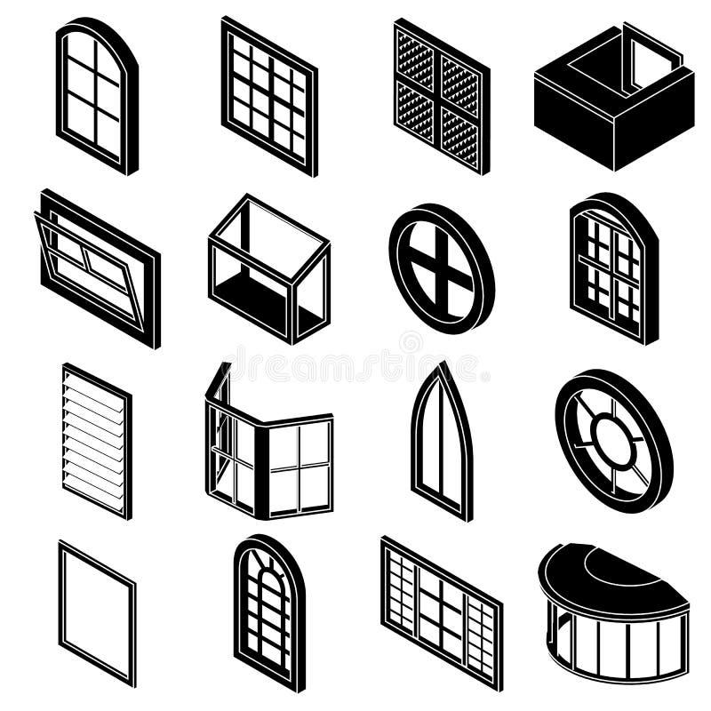 Okno tworzy ikony ustawiać, prosty styl ilustracji