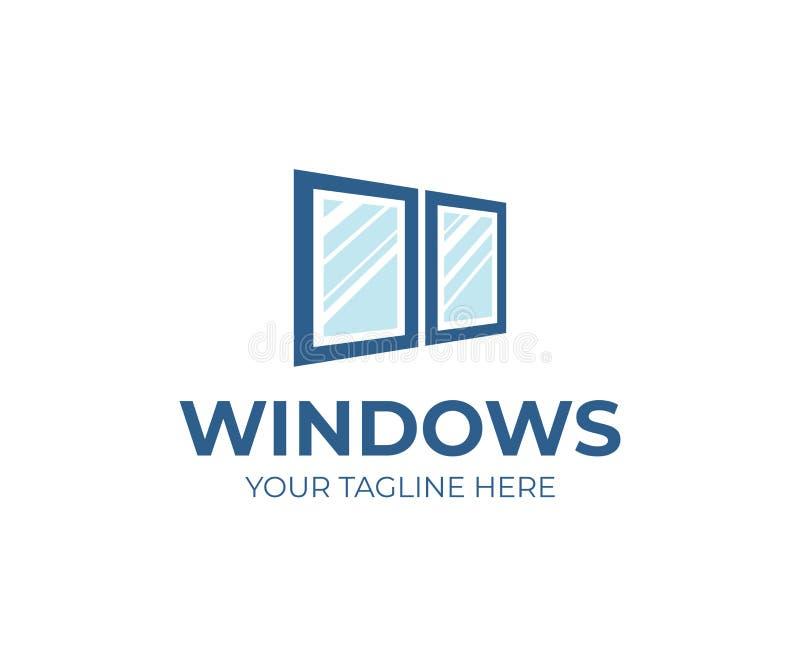 Okno usługuje loga szablon Nadokiennego zastępstwa wektorowy projekt royalty ilustracja