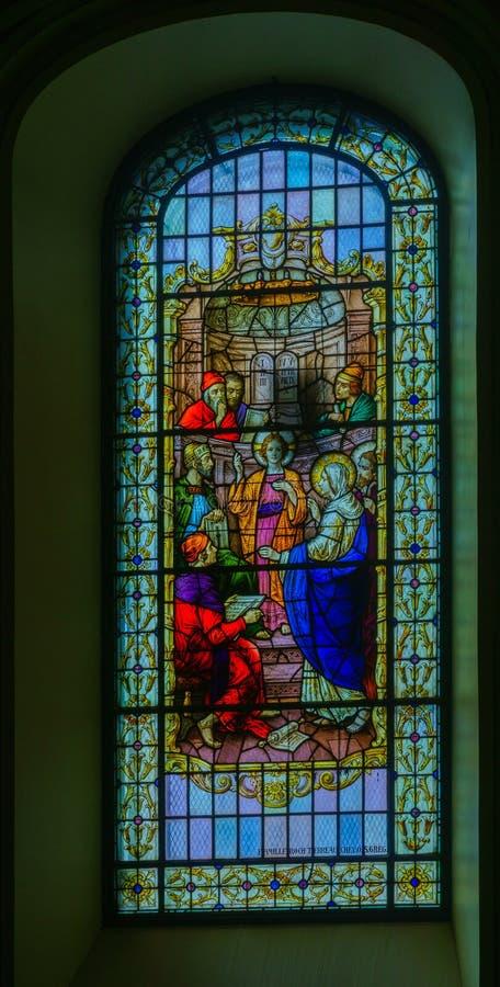 Okno w bazylice Notre-Dame de Quebec, Quebec obraz royalty free