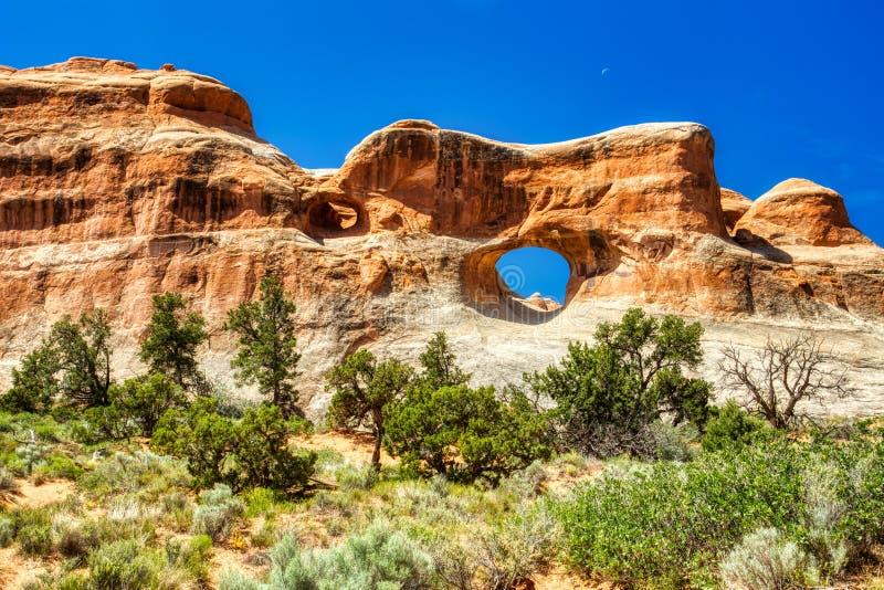 Okno w skale w łukach parki narodowi, Utah obraz stock