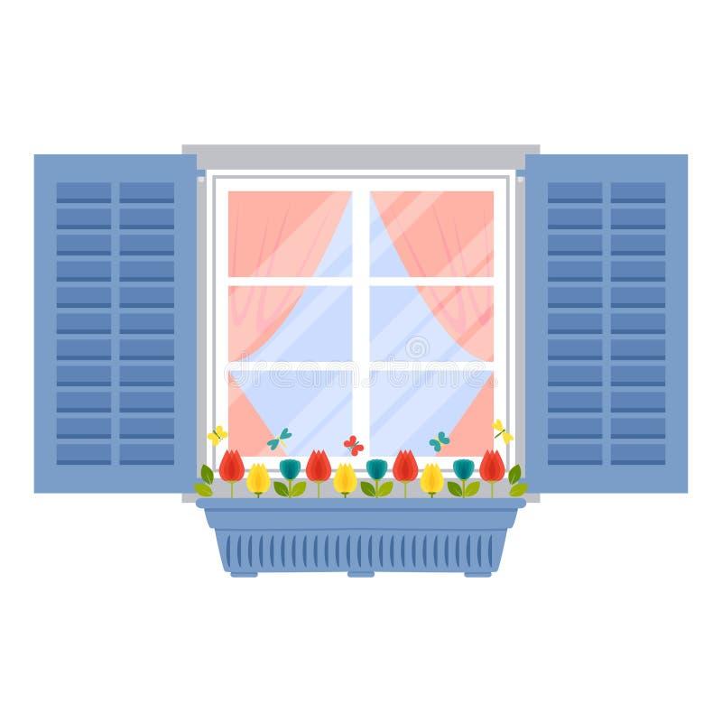 Okno z żaluzjami i flowerpot w mieszkaniu projektujemy ilustracja wektor