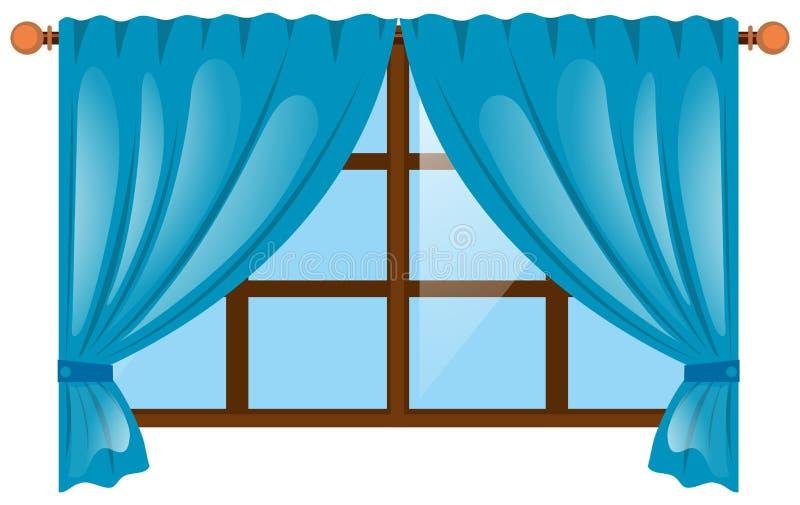 Okno z błękitną zasłoną royalty ilustracja
