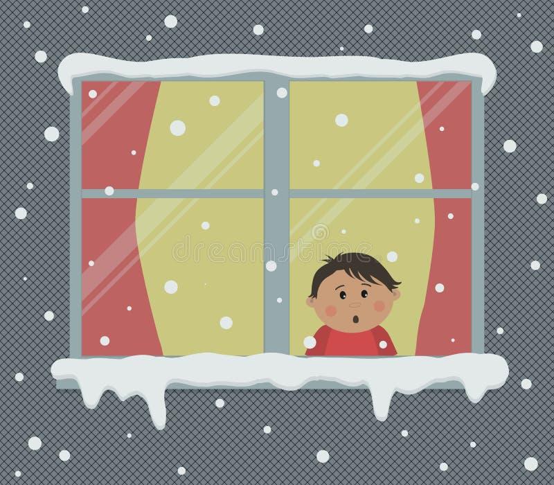 Okno z czerwonymi zasłonami na śnieżnym dniu Troszkę zaskakuje chłopiec patrzeje śnieg w pokoju, ilustracja wektor