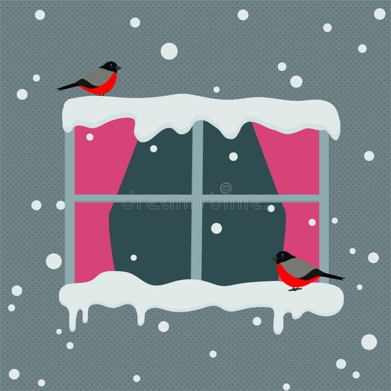 Okno z czerwonymi zas?onami na ?nie?nym dniu Gile siedzi na nadokiennym zimy tle r?wnie? zwr?ci? corel ilustracji wektora royalty ilustracja