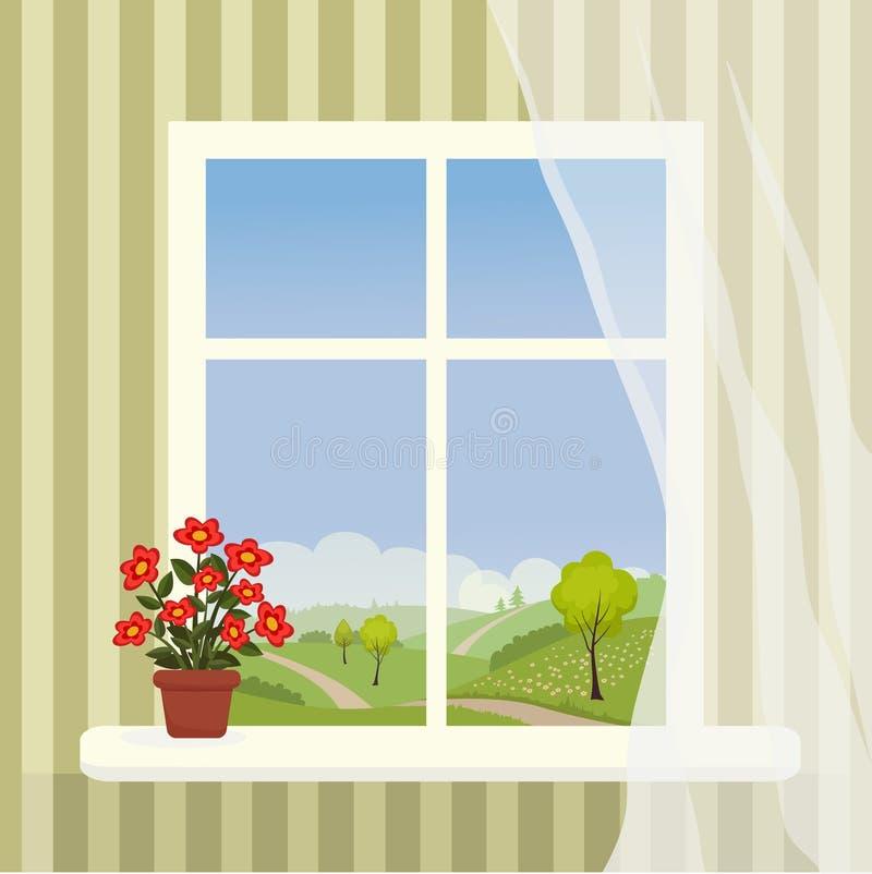Okno z górkowatym krajobrazem za nim i doniczkowym kwiatem na t royalty ilustracja