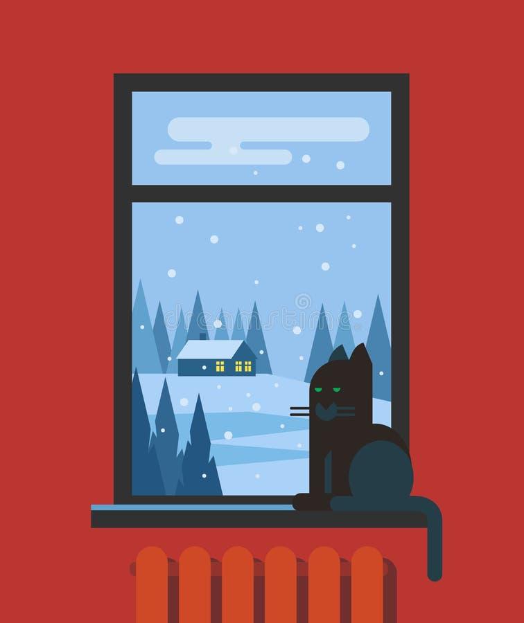 Okno z kotem i widokiem krajobraz ilustracja wektor