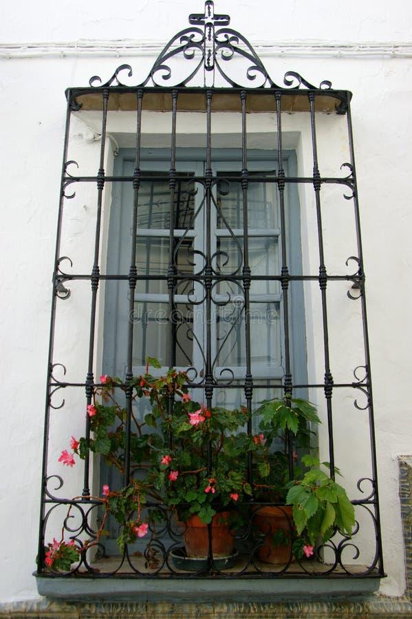 Okno z roślinami i śródziemnomorskimi barami obrazy stock