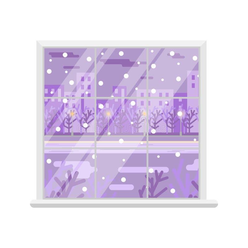 Okno Okno z zima krajobrazem równo Odosobniony wizerunek Element wnętrze royalty ilustracja