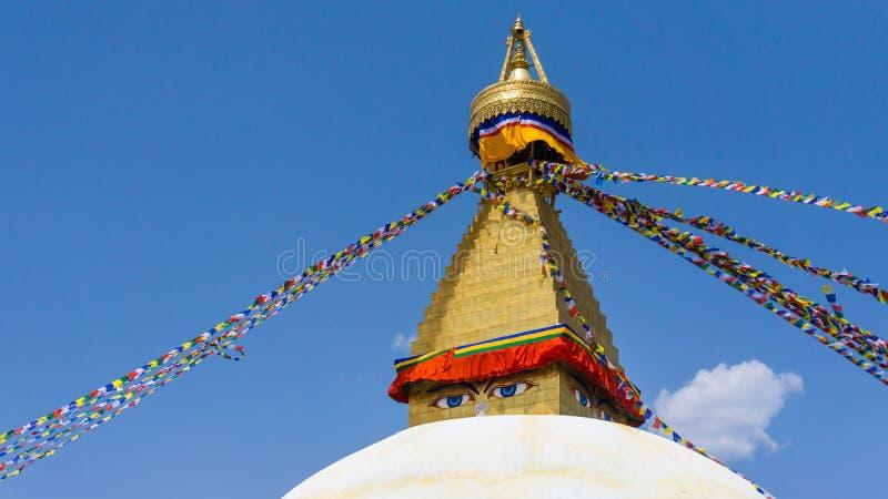 Oko Boudhanath stupa Lokalizować w Kathmandu, Nepal obraz royalty free