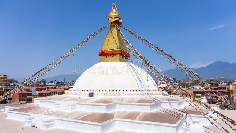 Oko Boudhanath stupa Lokalizowa? w Kathmandu, Nepal fotografia royalty free