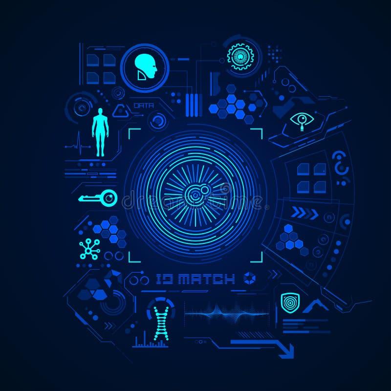 oko cyfrowego skanowania z nowoczesnej technologii ilustracja wektor