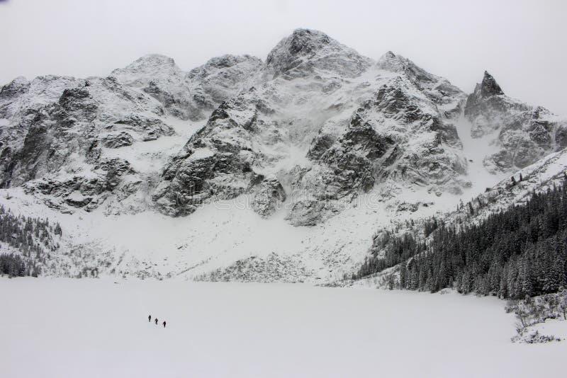 Oko de Morskie pendant l'hiver Pologne photographie stock libre de droits