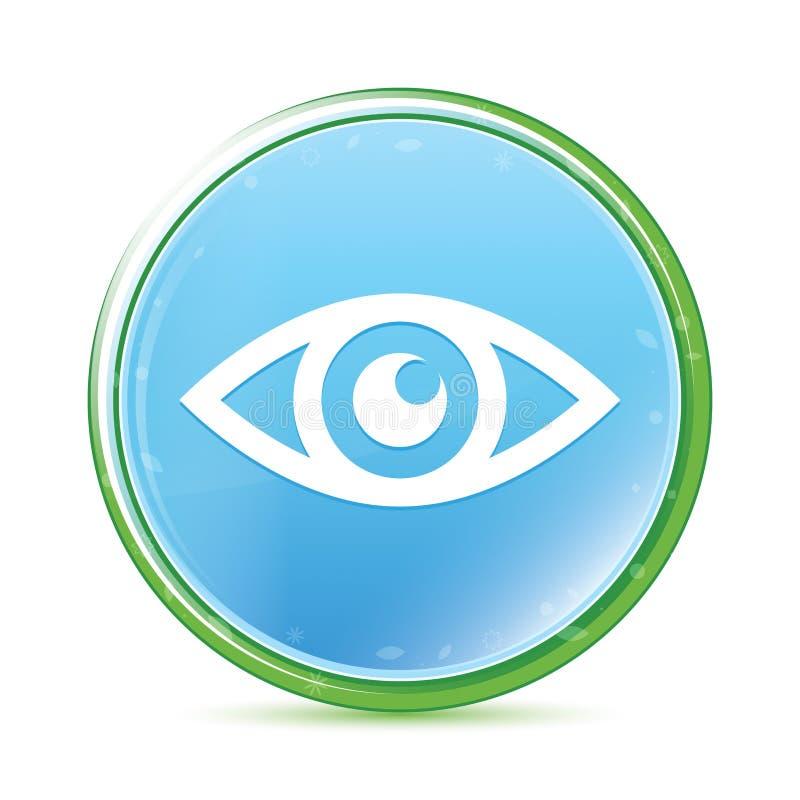 Oko ikony naturalnego aqua round cyan błękitny guzik royalty ilustracja