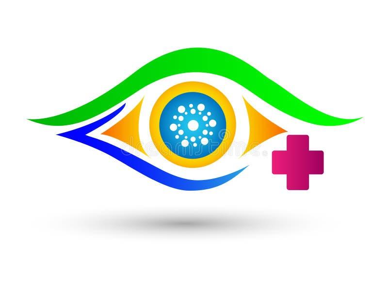 Oko klinika, medyczny oko opieki logo dla medycznego pojęcia na białym tle ilustracja wektor
