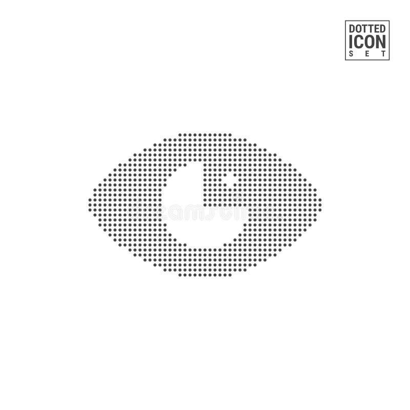 Oko kropki wzoru ikona Ludzkiego widoku Kropkowana ikona Odizolowywająca na bielu Wektorowy tła lub projekta szablon royalty ilustracja