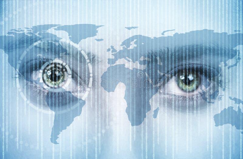 Oko młode kobiety z technologią obraz stock