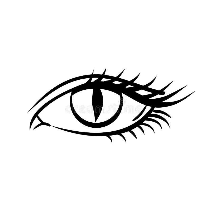 Oko na białym tle E piękne niebieskie oko kobiety young Oko logo ilustracja wektor