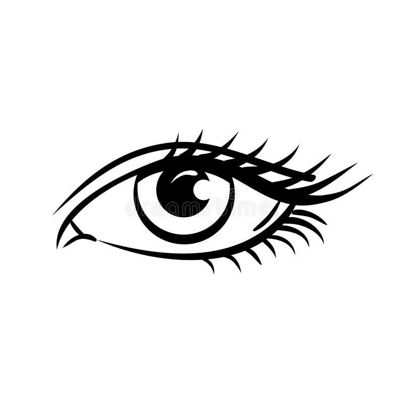 Oko na białym tle piękne niebieskie oko kobiety young Oko logo Przygląda się sztukę Ludzki oko, oka zamknięty up royalty ilustracja