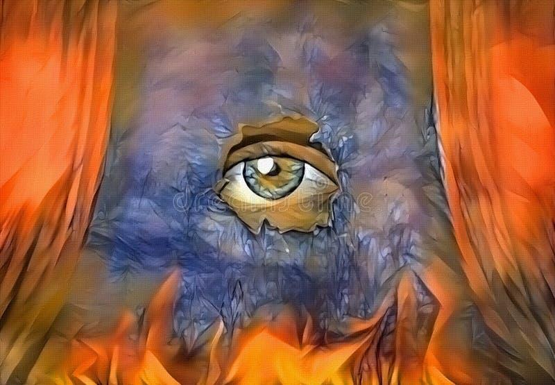 Oko na scenie ilustracji