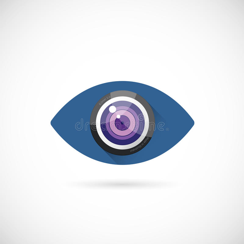 Oko obiektywu pojęcia symbolu Abstrakcjonistyczna Wektorowa ikona lub royalty ilustracja