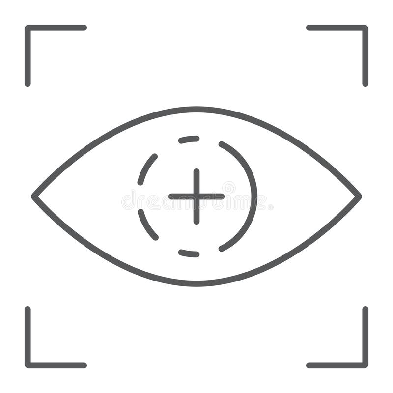 Oko obrazu cyfrowego cienka kreskowa ikona, dostęp i identyfikacja, siatkówka obrazu cyfrowego znak, wektorowe grafika, liniowy royalty ilustracja
