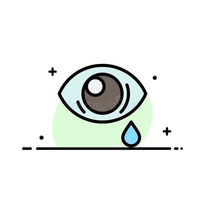 Oko, obwiśnięcie, oko, Smutna Biznesowa linia Wypełniający mieszkanie ikony sztandaru Wektorowy szablon royalty ilustracja