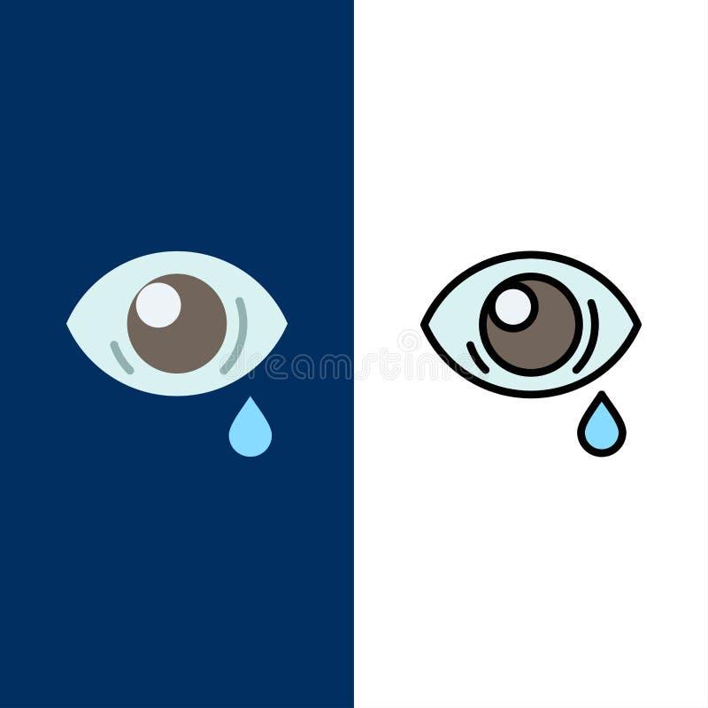Oko, obwiśnięcie, oko, Smutne ikony Mieszkanie i linia Wypełniający ikony Ustalony Wektorowy Błękitny tło ilustracja wektor