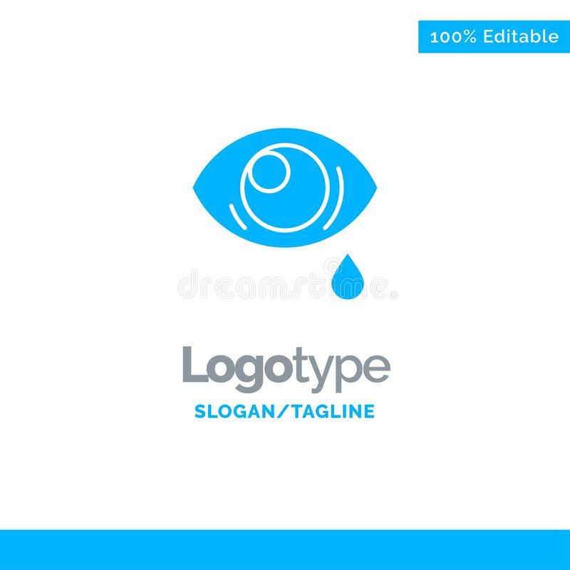 Oko, obwiśnięcie, oko, Smutny Błękitny Stały logo szablon Miejsce dla Tagline royalty ilustracja